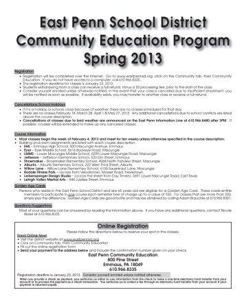 East Penn School District Community Education Program Spring 2013