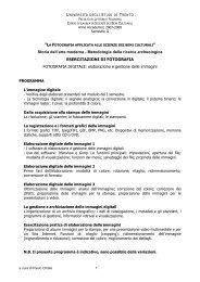 PROGRAMMA corso foto digitale 2° SEM - UNITN - FACOLTA' di ...