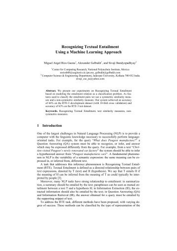 Recognizing Textual Entailment Using a Machine Learning Approach