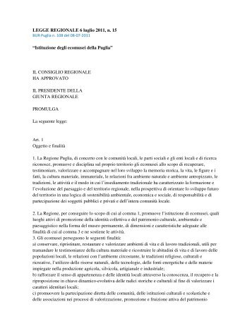 LEGGE REGIONALE 6 luglio 2011, n. 15 ... - Geologi Puglia