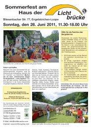 Sommerfest am Haus der Sonntag, den 26. Juni ... - Lichtbrücke e.V.