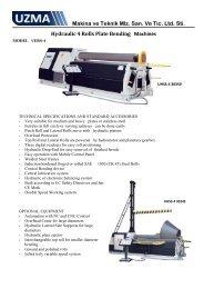 Makina ve Teknik Mlz. San. Ve Tic. Ltd. Sti. Hydraulic 4 Rolls Plate ...