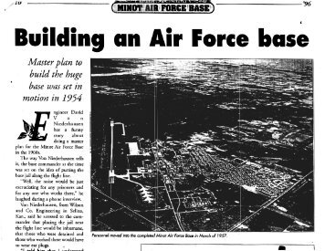 Building an Air Force Base: Paving the Way for Minot AFB, 1996 [5 ...