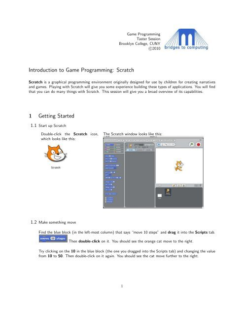 Introduction to Game Programming: Scratch 1 Getting Started