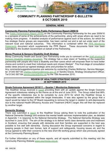 8 October 2010 - Moray Community Planning Partnership