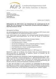 Stellungnahme der AGFS - Waldorfschulen in Hessen