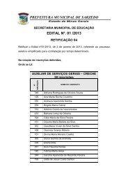 PREFEITURA MUNICIPAL DE SARZEDO EDITAL Nº. 01 /2013