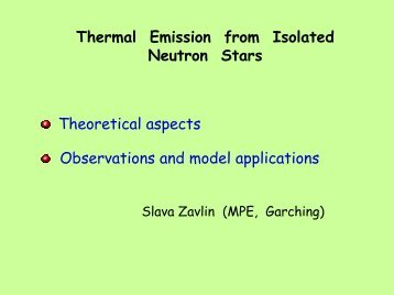 Thermal Emission from Isolated Neutron Stars Theoretical aspects ...
