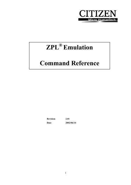 ZPL Emulation Command Reference - MaRCo