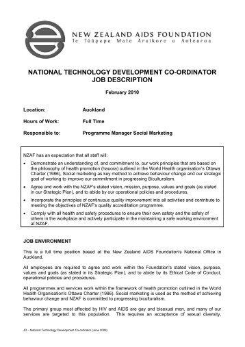 National Technology Development Co Ordinator Job Description  Caseworker Job Description