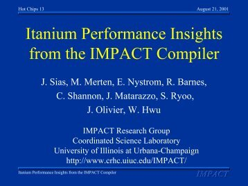 Itanium Performance Insights from the IMPACT Compiler