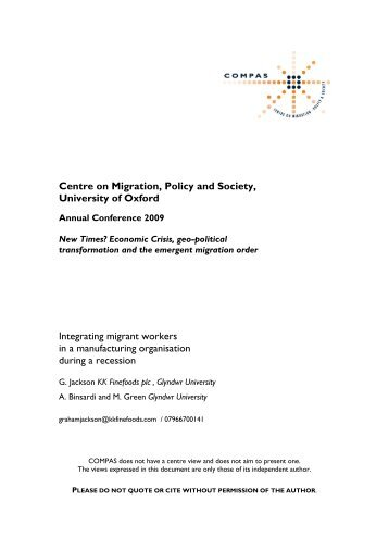 Integrating Migrant Workers in an Organisation During a Recession