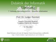 besondere Arbeitsweisen - Didaktik der Informatik - Bergische ...
