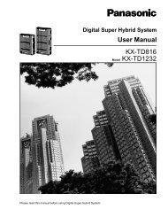 KX-TD816 Model KX-TD1232 User Manual - Telephone Systems ...