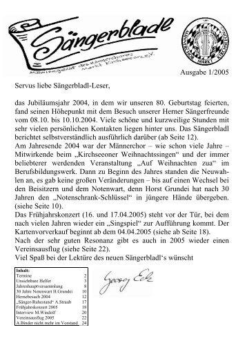 Ausgabe 1/2005 Servus liebe Sängerbladl-Leser, das ...
