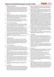 Allgemeine Einkaufsbedingungen Thorlabs GmbH