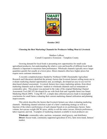 Choosing the Best Marketing Channels for Producers Selling Meat ...