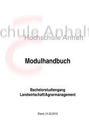 Modulhandbuch Bachelorstudiengang ... - Hochschule Anhalt