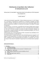 Håndhævelse af ejeraftaler efter indførelsen af selskabslovens § 82