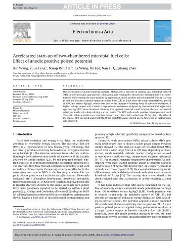 microbial fuel cell research paper Microbial fuel cell (mfc) is an electrochemical device in which electroactive bacteria are used to produce electricity through substrate (eg, acetate) oxidation.