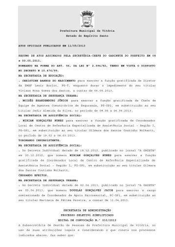 Atos Oficiais publicados em 11/05/2013 - Prefeitura de Vitória
