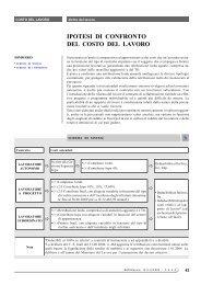 IPOTESI DI CONFRONTO DEL COSTO DEL LAVORO - Ratio
