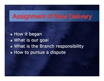 Assignment of New Delivery - steward resources