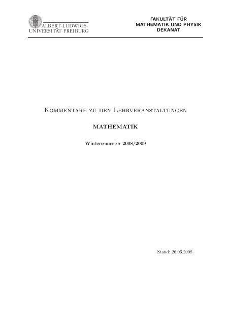 Kommentiertes Vorlesungsverzeichnis WS 08 09 - Mathematisches ...