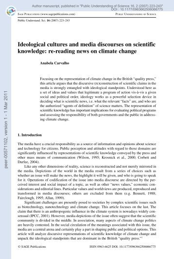Ideological cultures and media discourses on scientific knowledge ...