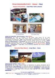 Maui - B & B & Häuser Beschreibungn 2006 - World Travel Net