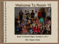 Welcome To Room 15 - Silver Beach Elementary School