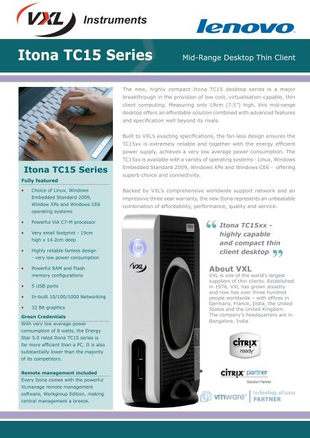 Itona TC15 Series - Mid - range desktop thin client - Lenovo