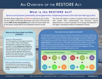 AN OVERVIEW OF THE RESTORE ACT - ELI's Ocean Program