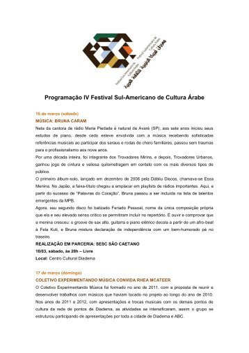 Programação IV Festival Sul-Americano de Cultura Árabe
