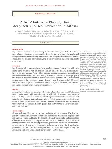 Active Albuterol or Placebo, Sham Acupuncture, or No ... - UOJM