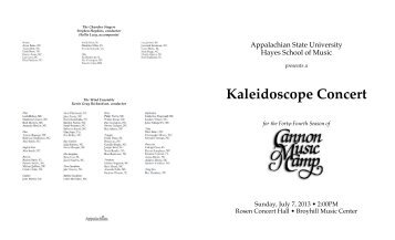 Kaleidoscope Concert - Hayes School of Music - Appalachian State ...