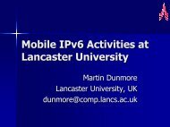 Mobile IPv6 Activities at Lancaster University - 6NET