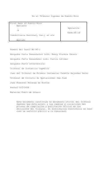 98 TSPR 18 - Rama Judicial de Puerto Rico