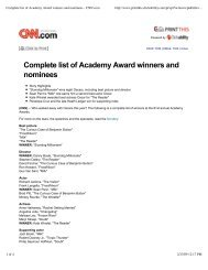 Complete list of Academy Award winners and ... - Laurion Inversiones