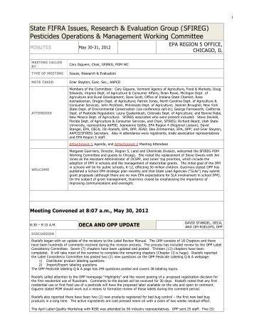 Minutes - Association of American Pesticide Control Officials