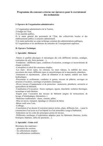 Programme du concours externe sur épreuves pour le recrutement ...