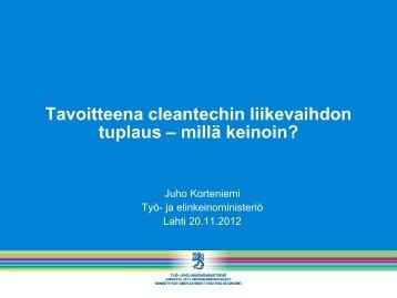Tavoitteena cleantechin liikevaihdon tuplaus – millä keinoin?