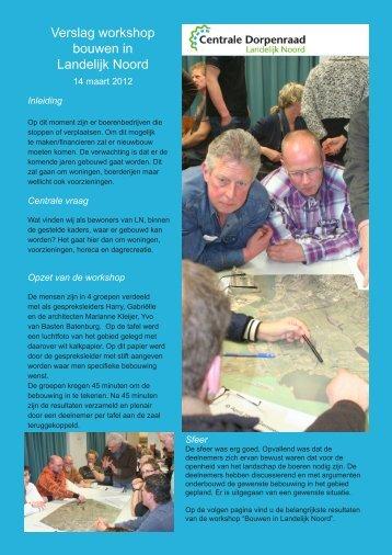 Verslag workshop bouwen in Landelijk Noord - Centrale ...