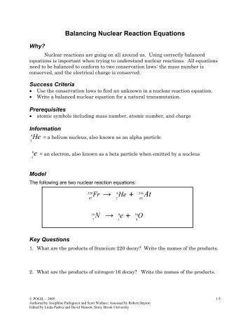 Nuclear Reaction Equations - Pogil