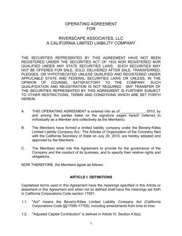 Business Operating Agreement  The Llc Operating Agreement