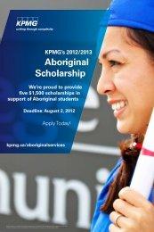 KPMG's 2012-2013 Aboriginal Scholarship Application - Algonquin ...