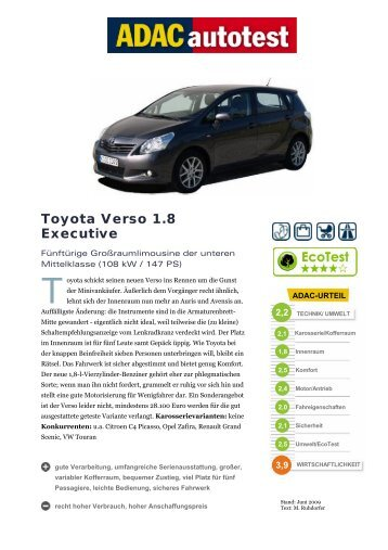 Umfassender Test Toyota Verso 1.8 Executive - ADAC