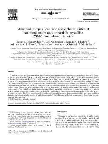 Structural, compositional and acidic characteristics of nanosized ...