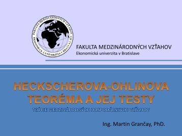 FAKULTA MEDZINÁRODNÝCH VZŤAHOV Ing. Martin Grančay, PhD.
