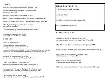 le menu du 28 au 30 mars 2013 - Restaurant les Zèbres